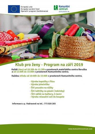 Klub pro ženy - program na září